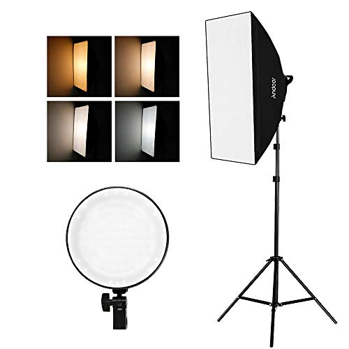 Andoer Studio Photography Softbox LED Light Kit Including 20X28 Inches Softboxes 45W Bi-Color Temperature 2700K/5500K Dimmable LED Lights 2 Meters Light Stands Carry Bag