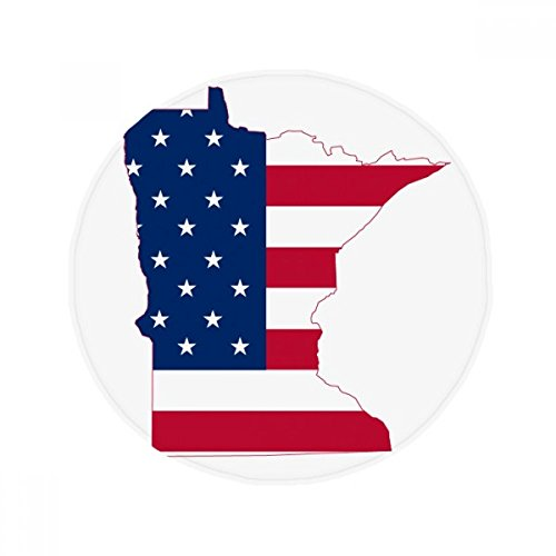 Minnesota USA Map Stars Stripes Flag Shape Anti-slip Floor Pet Mat Round Bathroom Living Room Kitchen Door 60/50cm (Minnesota Star Stripes)