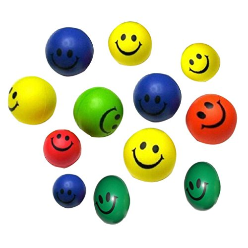 YIWULA 12 PCs Mini Neon Smile Face Relaxable Balls
