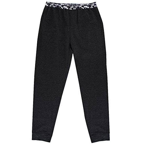 Layer 8 Mens Tapered Cuff French Terry Camo Waistband Lounge Jogger Pants With Pockets Black Large