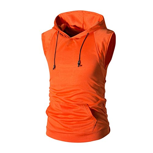 Clearance Sale! ❤️ Men Hoodie Tee, Neartime Fashion Men's Summer Casual Hooded Pure Color T-Shirt Sleeveless Top Blouse (M, (Classic Update Hoody)