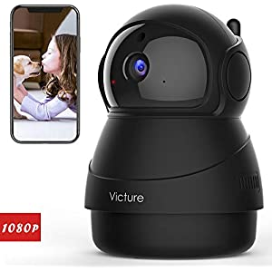 Victure Caméra de Surveillance,1080P Caméra WiFi sans Fil, Caméra Dome IP Intérieur, Vision Nocturne, Détection de Mouvement, 2 Way Audio, Pan/Tilt/Zoom pour Bébé/Aîné/Animal