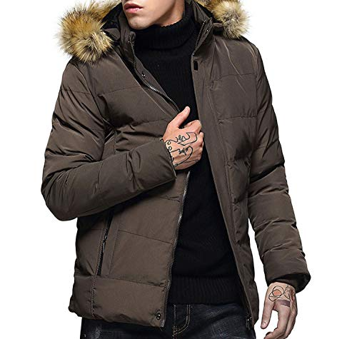 Men's Winter Fashion Hoodie Pure Color Thickened Padded et Coat Bomber Doudoune Homme,Camel,XXL