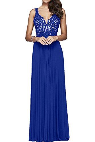 Ballkleider Festlich Rot Abendkleider Charmant Lang Spitze Damen Blau Dunkel Royal Sommer Chiffon Partykleider aqawRO8