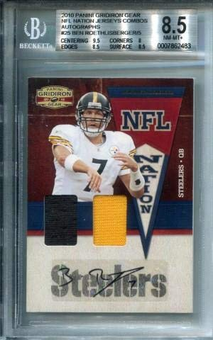 Ben Roethlisberger Autographed/Game Used Jersey Card Beckett 8.5 - Football Game Used Cards
