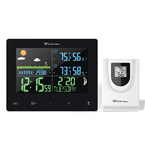 Wittime Weather Stations Indoor Outdoor Thermometer Wireless, Weather Clock, Moon Phase, Barometer, Snooze Function 328ft Wireless Range (Type 2069)