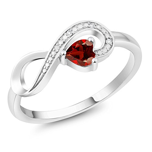 Gem Stone King 10K White Gold Red Garnet and Diamond Gemstone Birthstone Women's Infinity Ring 0.33 Ct Heart Shape (Size 7)