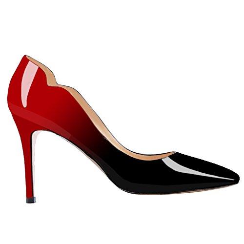 Juin Dans Lamour Bureau Des Femmes Basique Slip Sur Les Pompes Stiletto Mi-talon Pointu Orteil Pour Tous Les Jours Robe Chaussures Faux Rouge Noir