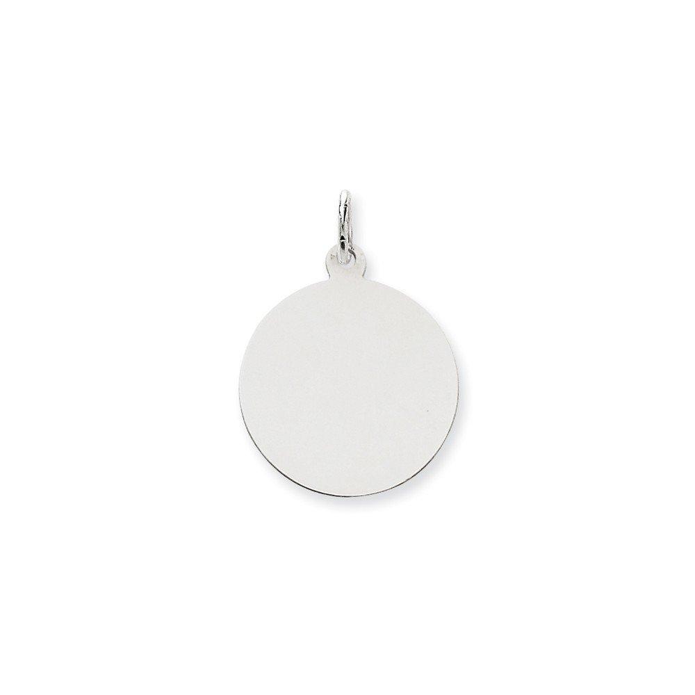 14k White Gold Solid Polished Engravable Plain .027 Gauge Round Engraveable Disc Charm