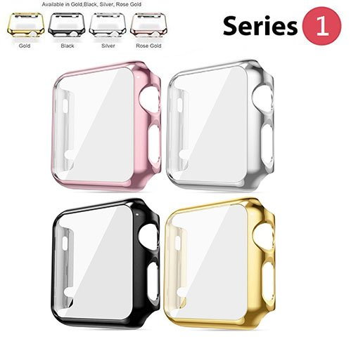Protective Case for Apple Watch Case 38mm Series 1, Bumper for Apple Watch 38mm Snap on Face Cover Full Coverage Screen Protector of Thin Plated Case PC for iWatch/Sport/Edition 2015 - 4 Colors Pack