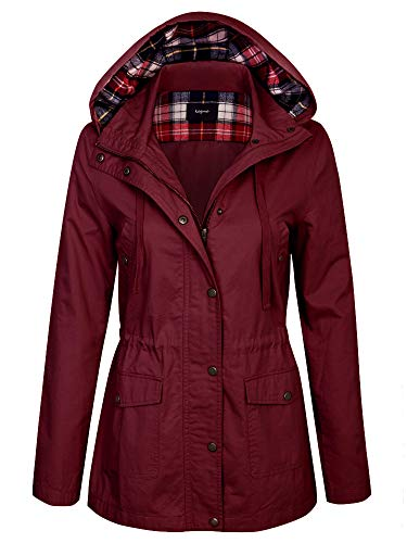 - KOGMO Womens Zip Up Anorak Safari Jacket with Checker Lining Hoodie-S-Wine