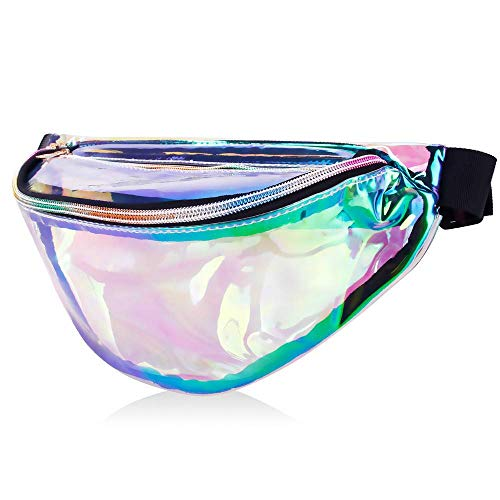 MDcharm Clear Holographic Fanny Pack - Iridescent Fanny Pack, Waterproof Hiking Fanny Pack for Women, Neon Rave Festival Waist -