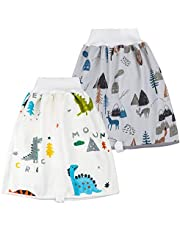 2 Packs Diaper Skirts for Bed Wetting Waterproof Cotton Potty Training Cloth Diaper Shorts for Baby Boy and Girl Night Time Use (Cedar, 0-4Y)