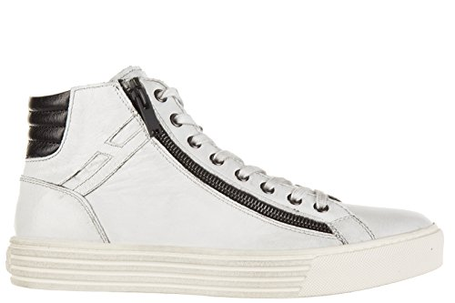 Hogan Rebel chaussures baskets sneakers hautes homme en cuir zip r206 blanc