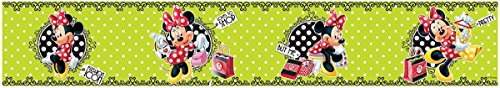Minnie Mouse Border - Minnie Mouse Polka Dot Green Self Adhesive Wallpaper Border 5m