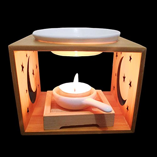 Singeek Incense Essential Oil Burner Diffuser With Ceramic Tea Light Holder,Ideal Hollowing Floral Aromatherapy Oil Warmer For Holiday Home Decoration Valentine Christmas Gift - Porcelain Table Lamp Bamboo