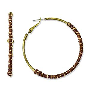 Tru latón con marrón de lino encerado y pendientes de aro de oro-tono - JewelryWeb