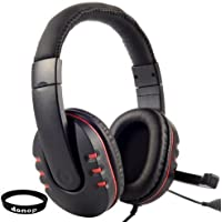 Donop USB Stereo Microphone Gaming Headset for PS3 / PC Bundle with Black Silicone Wristband - Red