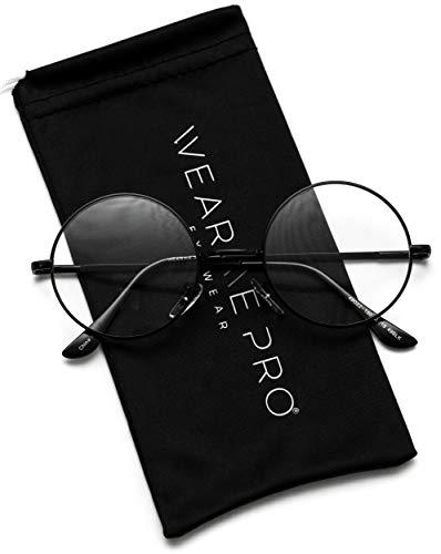 Round Clear Metal Frame Glasses (Black Frame, 49)