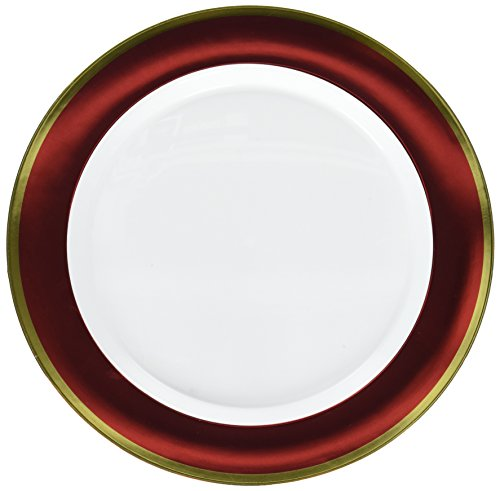 - Amscan White Premium Plastic Round Plates with Red Border, 6 Pk. | Party Tableware