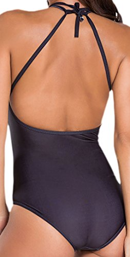 Frieda Fashion - Damen Monokini mit Geometrischen Mustern, XS-L, Schwarz