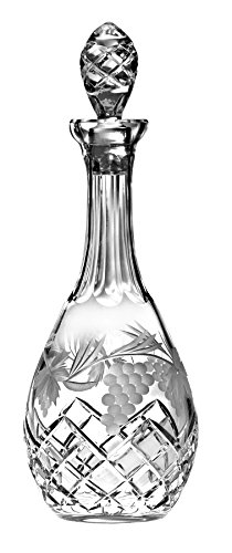 Barski - Hand Cut - Mouth Blown - Crystal - Wine Decanter - with Handle - With Grapevine Design - 38 oz. - Made in - Grapevine Carafe