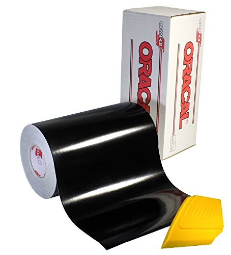 ORACAL 651 Multi-Colored Vinyl Solvent-Based Adhesive-Backed Calendared Wrap Decals w/Yellow Multi-Purpose Squeegee (12 x 5ft, Black)