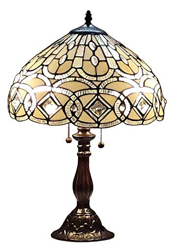 Tiffany Style Table Lamp Banker 21 Tall Stained Glass White Grey Tan Antique Vintage Light Decor Nightstand Bedside Living Room Bedroom Dining Room Handmade Gift AM021TL14 Amora Lighting