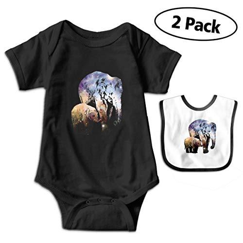 (Harataki Baby Elephant and Asian Elephant with Galaxy Unisex-Baby Newborn Short-Sleeve Bodysuit Rompers6M Black)