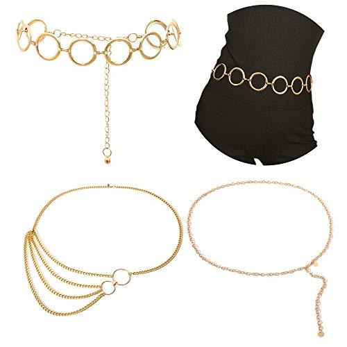 AnVei-Nao Gold Waist Chain Belt for Women Metal Hoop Link Waistbands Charm Belly Body Chain Bikini Dress Jewelry 3 Pack (Gold) ()