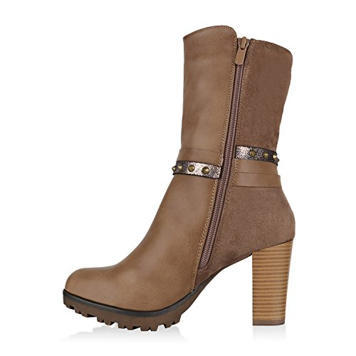 Stiefelparadies Damen Stiefeletten High Heels Plateau Schuhe Leder-Optik Spitze Flandell Khaki Nieten