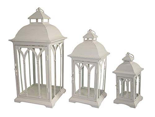 Pebble Lane Living ZD2014-WHT Lombard Indoor/Outdoor Candle Lanterns, Powder Coated Steel Frame & Tempered Glass Panes, Antique White, Assorted Set of 3