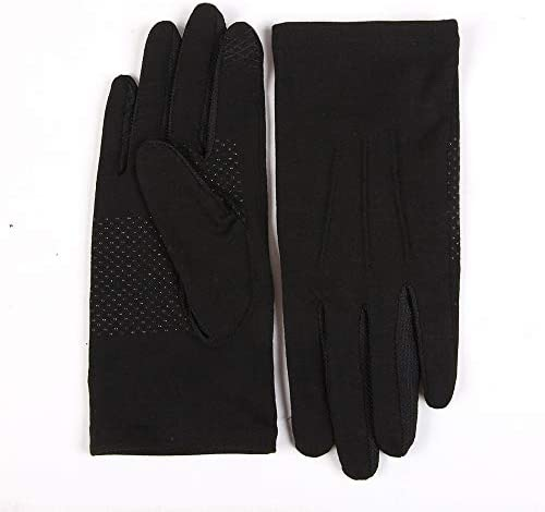 BAJIMI UVカット手袋 手触りが良い ファッション男性と女性の日焼け止め手袋UPF50 +通気性滑り止めタッチスクリーン薄いセクション運転手袋 夏 ハンド ケア レディース/メンズ (Color : BLACK, Size : S)
