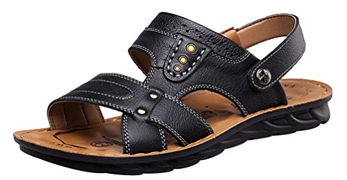 Sandals Leisure Cozy Leather Salabobo QYY Mens New Beach UK Black Breathable Athletic 6166 Size9 wXqTCRqv