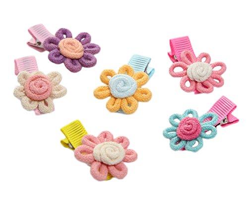 Dosige Baby Girls Ribbon Hair Bow Clips Barrettes Grosgrain Headband, Random Color