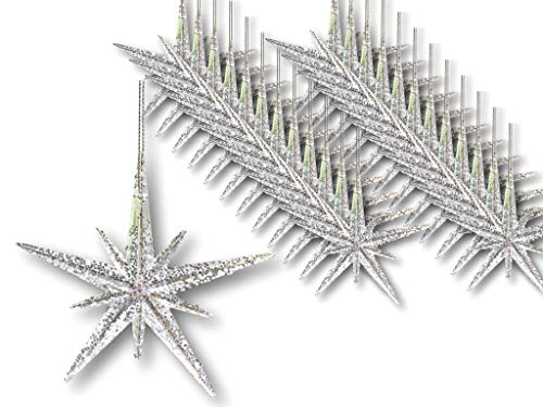 "BANBERRY DESIGNS Christmas Moravian Star Ornaments - Set of 24 Stars – 4 ½"" H Clear Acrylic with Silver Glitter - Hanging Christmas Decorations ()"