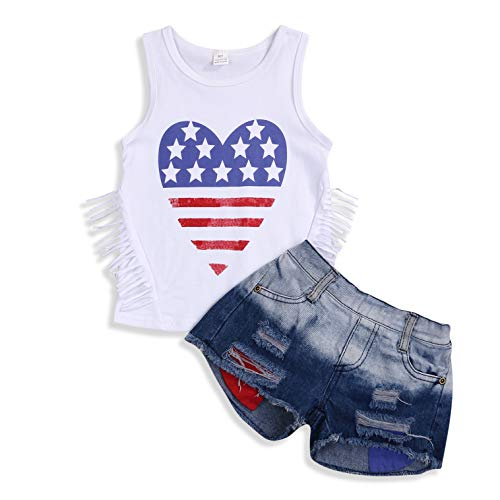 American Heart Baby T-shirt - 2Pcs Fashion Toddler Kids Baby Girl Denim Shorts Sets Sleeveless T-Shirt Top Ripped Denim Shorts Summer Outfits (Heart Shape, 4-5 Years)