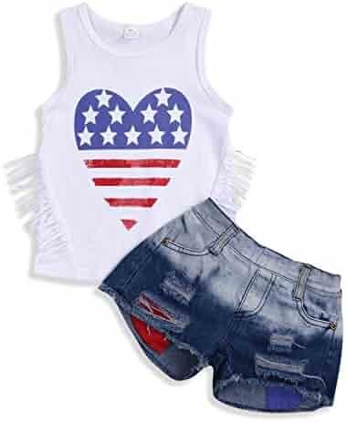 3b9118038 YOUNGER TREE 2Pcs Fashion Toddler Kids Baby Girl Denim Shorts Sets  Sleeveless T-Shirt Ripped