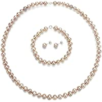 "Sterling Silver Womens Jewelry Freshwater Cultured Pearl Necklace 18"" 7"" Bracelet Earrings Set 6-6.5mm"
