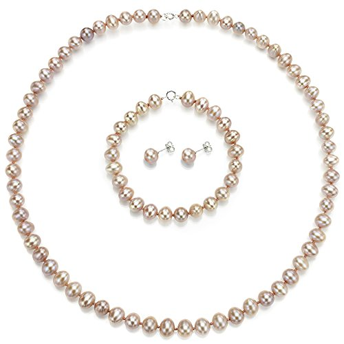 Sterling Silver 7-7.5mm Pink Freshwater Cultured Pearl Necklace, Bracelet and Stud Earrings Set by La Regis Jewelry