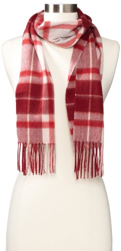 Amicale Women's 100% Cashmere Center-Plaid Scarf