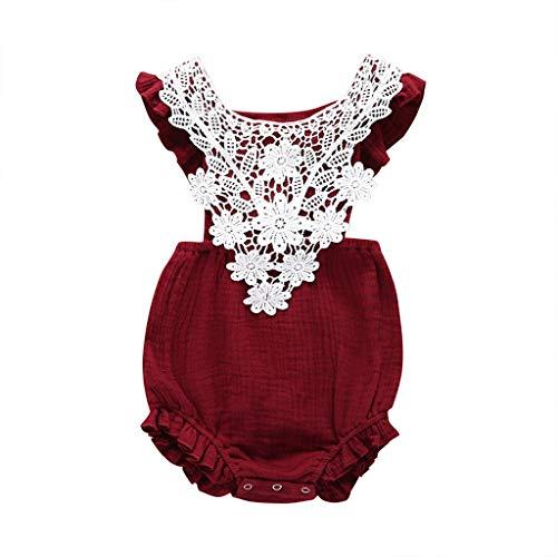 - Newborn Toddler Baby Girls Lace Romper Cute Flower Bodysuit Summer One Piece Jumpsuit Clothes Wine