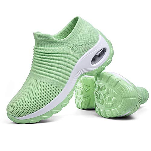 Women's Walking Shoes Sock Sneakers - Mesh Slip On Air Cushion Lady Girls Modern Jazz Dance Easy Shoes Platform Loafers Green,7.5