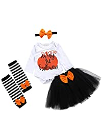 puseky Newborn Baby Girls My First Halloween Outfits Romper Mesh Tutu Skirt Leg Warmers Set