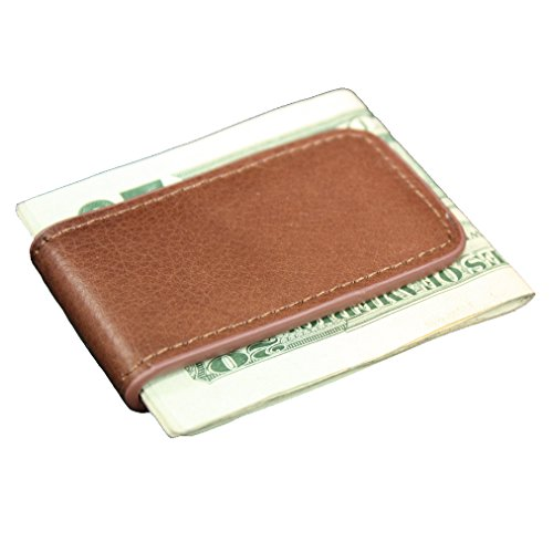 Tan Leather Magnetic Money Clip ()