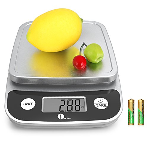 1byone Digital Kitchen Scale Precise Cooking Scale and Baking Scale, Multifunction with Range From 0.04oz (1g) to 11 lbs (5kg), Elegant Black