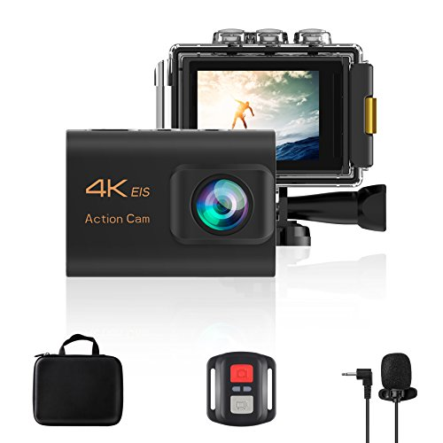 Hi-Fun Action Camera 4K WiFi Ultra HD Waterproof Sport Camera With EIS,2 Inch LCD Screen 20MP 170 Degree Wide Angle Remote 2 Rechargeable 1200mAh Batteries Free Travel Bag,Include 21 Accessories Kits