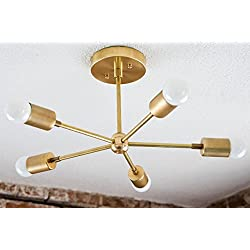 Handmade in U.S.A 5 Arm Brass Gold Sputnik Style Mid Century Modern Inspired Starburst Chandelier UL Listed