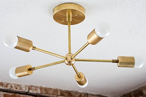 Handmade in U.S.A 5 Arm Brass Gold Sputnik Style Mid Century Modern Inspired Starburst Chandelier UL Listed