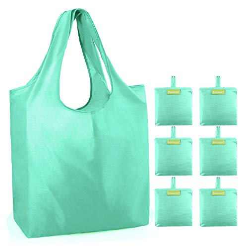 Green 6 pack Reusable Shopping Bags Machine Washable Foldable Bags for Shopping Polyester Fabrics Shopping Tote Bags Bulk Large Capacity